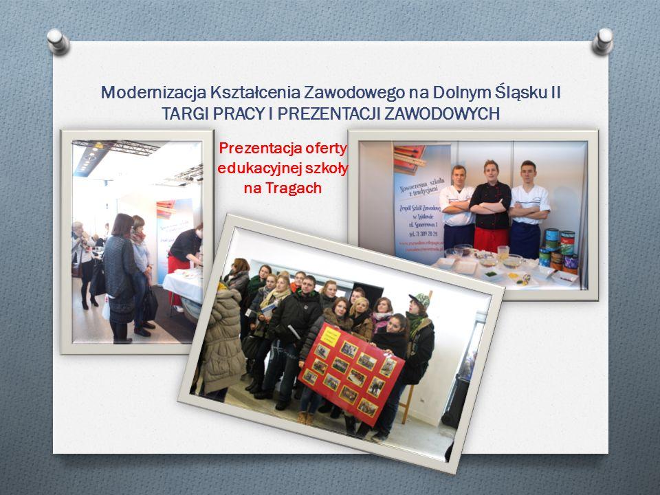 Modernizacja Kształcenia Zawodowego na Dolnym Śląsku II TARGI PRACY I PREZENTACJI ZAWODOWYCH Prezentacja oferty edukacyjnej szkoły na Tragach