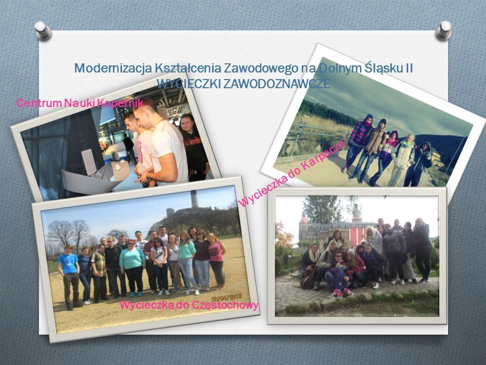 Modernizacja Kształcenia Zawodowego na Dolnym Śląsku II WYCIECZKI ZAWODOZNAWCZE Centrum Nauki Kopernik Wycieczka do Karpacza Wycieczka do Częstochowy