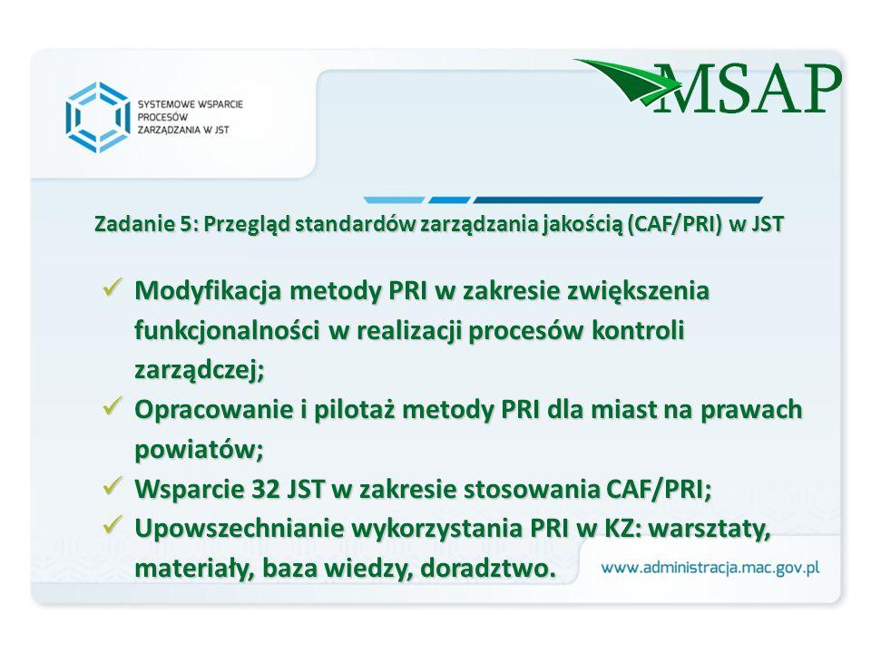 Modyfikacja metody PRI w zakresie zwiększenia funkcjonalności w realizacji procesów kontroli zarządczej; Modyfikacja metody PRI w zakresie zwiększenia funkcjonalności w realizacji procesów kontroli zarządczej; Opracowanie i pilotaż metody PRI dla miast na prawach powiatów; Opracowanie i pilotaż metody PRI dla miast na prawach powiatów; Wsparcie 32 JST w zakresie stosowania CAF/PRI; Wsparcie 32 JST w zakresie stosowania CAF/PRI; Upowszechnianie wykorzystania PRI w KZ: warsztaty, materiały, baza wiedzy, doradztwo.