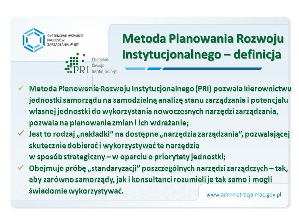 """Metoda Planowania Rozwoju Instytucjonalnego – definicja Metoda Planowania Rozwoju Instytucjonalnego (PRI) pozwala kierownictwu jednostki samorządu na samodzielną analizę stanu zarządzania i potencjału własnej jednostki do wykorzystania nowoczesnych narzędzi zarządzania, pozwala na planowanie zmian i ich wdrażanie; Metoda Planowania Rozwoju Instytucjonalnego (PRI) pozwala kierownictwu jednostki samorządu na samodzielną analizę stanu zarządzania i potencjału własnej jednostki do wykorzystania nowoczesnych narzędzi zarządzania, pozwala na planowanie zmian i ich wdrażanie; Jest to rodzaj """"nakładki na dostępne """"narzędzia zarządzania , pozwalającej skutecznie dobierać i wykorzystywać te narzędzia w sposób strategiczny – w oparciu o priorytety jednostki; Jest to rodzaj """"nakładki na dostępne """"narzędzia zarządzania , pozwalającej skutecznie dobierać i wykorzystywać te narzędzia w sposób strategiczny – w oparciu o priorytety jednostki; Obejmuje próbę """"standaryzacji poszczególnych narzędzi zarządczych – tak, aby zarówno samorządy, jak i konsultanci rozumieli je tak samo i mogli świadomie wykorzystywać."""