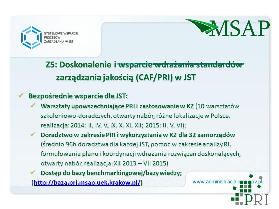 Z5: Doskonalenie i wsparcie wdrażania standardów zarządzania jakością (CAF/PRI) w JST Bezpośrednie wsparcie dla JST: Bezpośrednie wsparcie dla JST: Warsztaty upowszechniające PRI i zastosowanie w KZ (10 warsztatów szkoleniowo-doradczych, otwarty nabór, różne lokalizacje w Polsce, realizacja: 2014: II, IV, V, IX, X, XI, XII; 2015: II, V, VI); Warsztaty upowszechniające PRI i zastosowanie w KZ (10 warsztatów szkoleniowo-doradczych, otwarty nabór, różne lokalizacje w Polsce, realizacja: 2014: II, IV, V, IX, X, XI, XII; 2015: II, V, VI); Doradztwo w zakresie PRI i wykorzystania w KZ dla 32 samorządów (średnio 96h doradztwa dla każdej JST, pomoc w zakresie analizy RI, formułowania planu i koordynacji wdrażania rozwiązań doskonalących, otwarty nabór, realizacja: XII 2013 – VII 2015) Doradztwo w zakresie PRI i wykorzystania w KZ dla 32 samorządów (średnio 96h doradztwa dla każdej JST, pomoc w zakresie analizy RI, formułowania planu i koordynacji wdrażania rozwiązań doskonalących, otwarty nabór, realizacja: XII 2013 – VII 2015) Dostęp do bazy benchmarkingowej/bazy wiedzy; Dostęp do bazy benchmarkingowej/bazy wiedzy; (http://baza.pri.msap.uek.krakow.pl/) (http://baza.pri.msap.uek.krakow.pl/)http://baza.pri.msap.uek.krakow.pl/