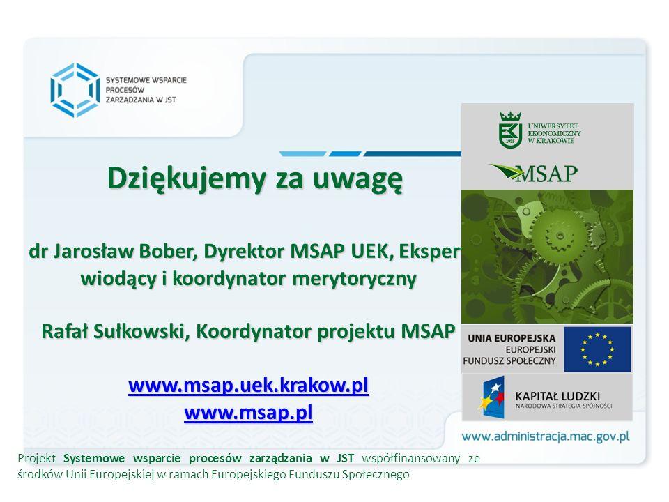 Dziękujemy za uwagę dr Jarosław Bober, Dyrektor MSAP UEK, Ekspert wiodący i koordynator merytoryczny Rafał Sułkowski, Koordynator projektu MSAP www.msap.uek.krakow.pl www.msap.pl www.msap.uek.krakow.pl www.msap.pl www.msap.uek.krakow.pl www.msap.pl Projekt Systemowe wsparcie procesów zarządzania w JST współfinansowany ze środków Unii Europejskiej w ramach Europejskiego Funduszu Społecznego