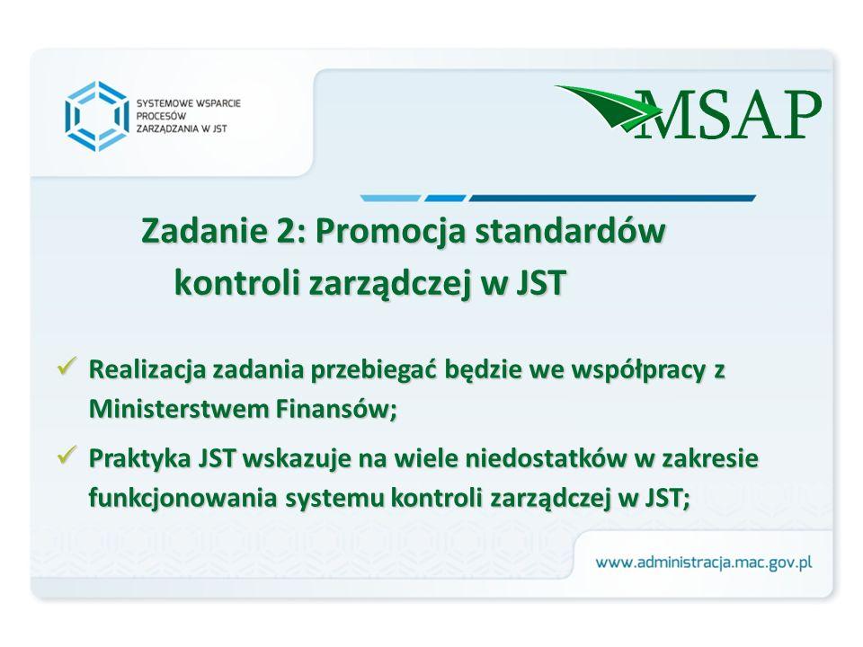 Zadanie 2: Promocja standardów kontroli zarządczej w JST Realizacja zadania przebiegać będzie we współpracy z Ministerstwem Finansów; Realizacja zadania przebiegać będzie we współpracy z Ministerstwem Finansów; Praktyka JST wskazuje na wiele niedostatków w zakresie funkcjonowania systemu kontroli zarządczej w JST; Praktyka JST wskazuje na wiele niedostatków w zakresie funkcjonowania systemu kontroli zarządczej w JST;