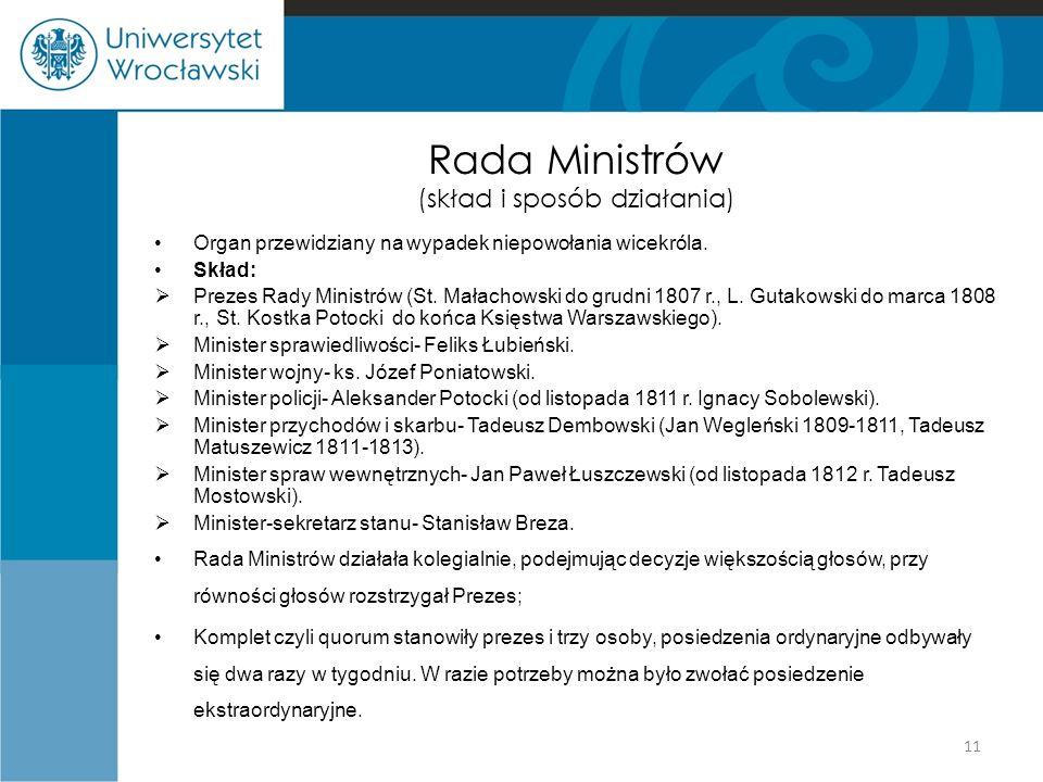Rada Ministrów (skład i sposób działania) Organ przewidziany na wypadek niepowołania wicekróla.