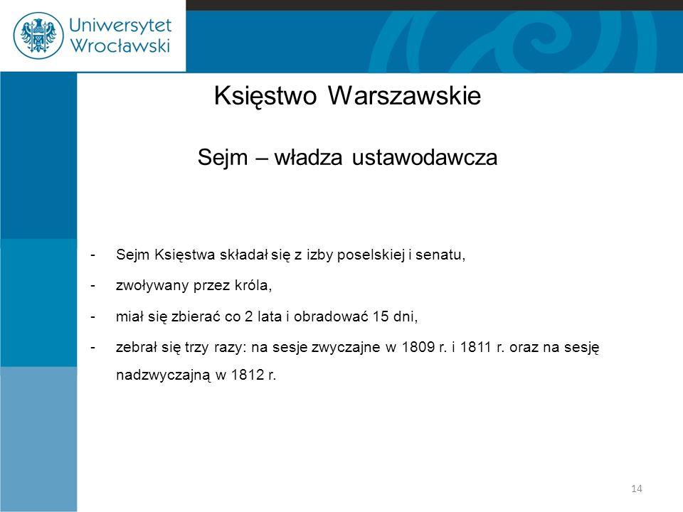 Księstwo Warszawskie Sejm – władza ustawodawcza -Sejm Księstwa składał się z izby poselskiej i senatu, -zwoływany przez króla, -miał się zbierać co 2 lata i obradować 15 dni, -zebrał się trzy razy: na sesje zwyczajne w 1809 r.