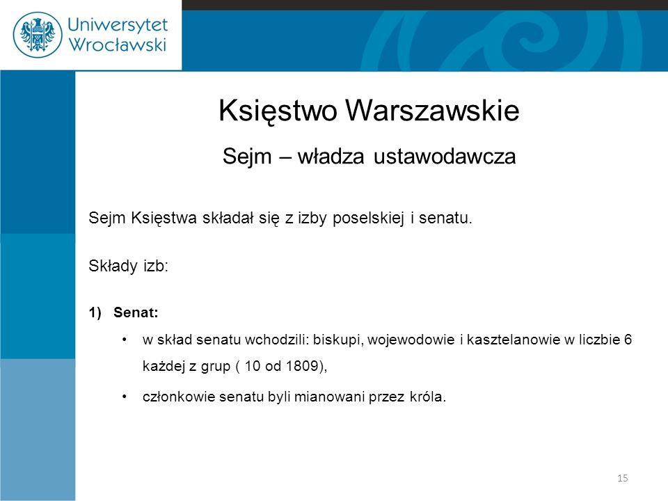 Księstwo Warszawskie Sejm – władza ustawodawcza Sejm Księstwa składał się z izby poselskiej i senatu. Składy izb: 1)Senat: w skład senatu wchodzili: b