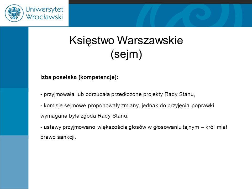 Księstwo Warszawskie (sejm) Izba poselska (kompetencje): - przyjmowała lub odrzucała przedłożone projekty Rady Stanu, - komisje sejmowe proponowały zm