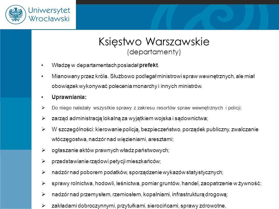 Księstwo Warszawskie (departamenty) Władzę w departamentach posiadał prefekt.