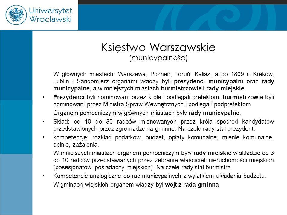 Księstwo Warszawskie (municypalność) W głównych miastach: Warszawa, Poznań, Toruń, Kalisz, a po 1809 r. Kraków, Lublin i Sandomierz organami władzy by