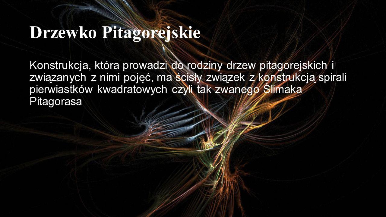 Drzewko Pitagorejskie Konstrukcja, która prowadzi do rodziny drzew pitagorejskich i związanych z nimi pojęć, ma ścisły związek z konstrukcją spirali p