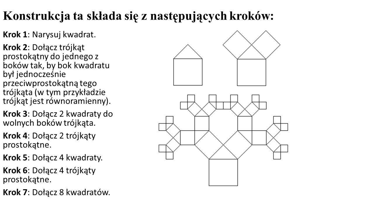 Konstrukcja ta składa się z następujących kroków: Krok 1: Narysuj kwadrat. Krok 2: Dołącz trójkąt prostokątny do jednego z boków tak, by bok kwadratu
