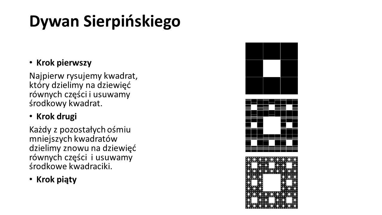 Dywan Sierpińskiego Krok pierwszy Najpierw rysujemy kwadrat, który dzielimy na dziewięć równych części i usuwamy środkowy kwadrat. Krok drugi Każdy z