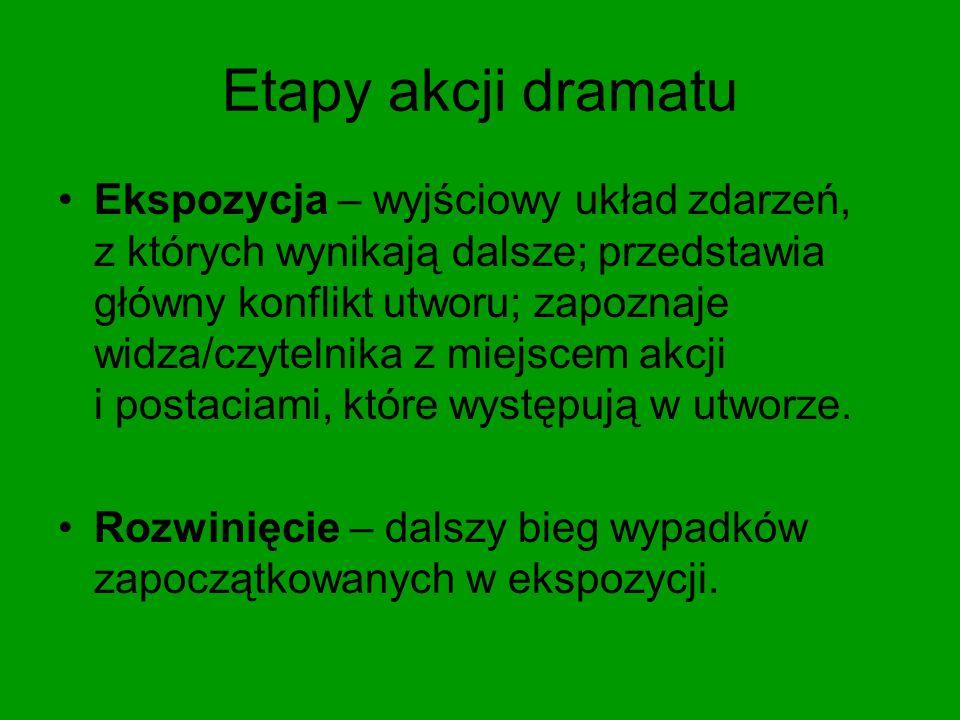 Etapy akcji dramatu Ekspozycja – wyjściowy układ zdarzeń, z których wynikają dalsze; przedstawia główny konflikt utworu; zapoznaje widza/czytelnika z