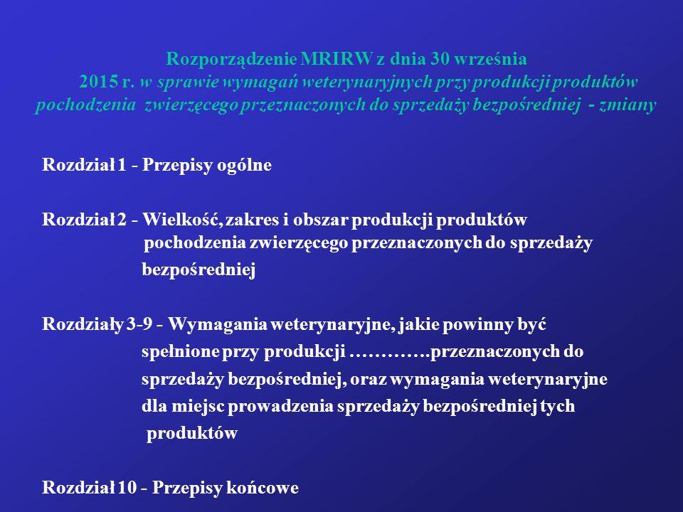Rozporządzenie MRIRW z dnia 30 września 2015 r. w sprawie wymagań weterynaryjnych przy produkcji produktów pochodzenia zwierzęcego przeznaczonych do s