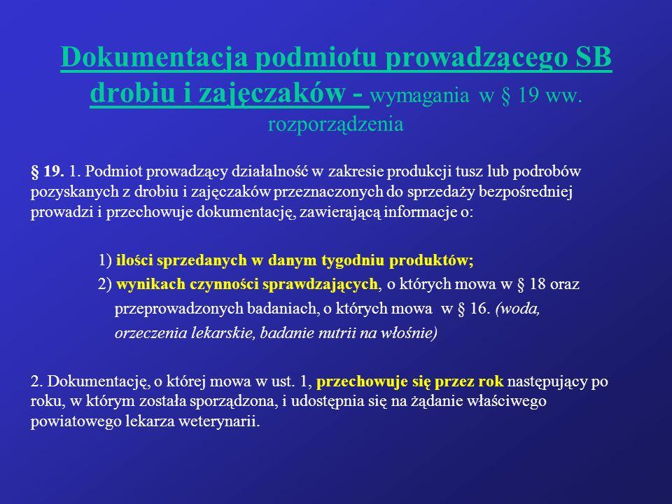 Dokumentacja podmiotu prowadzącego SB drobiu i zajęczaków - wymagania w § 19 ww.