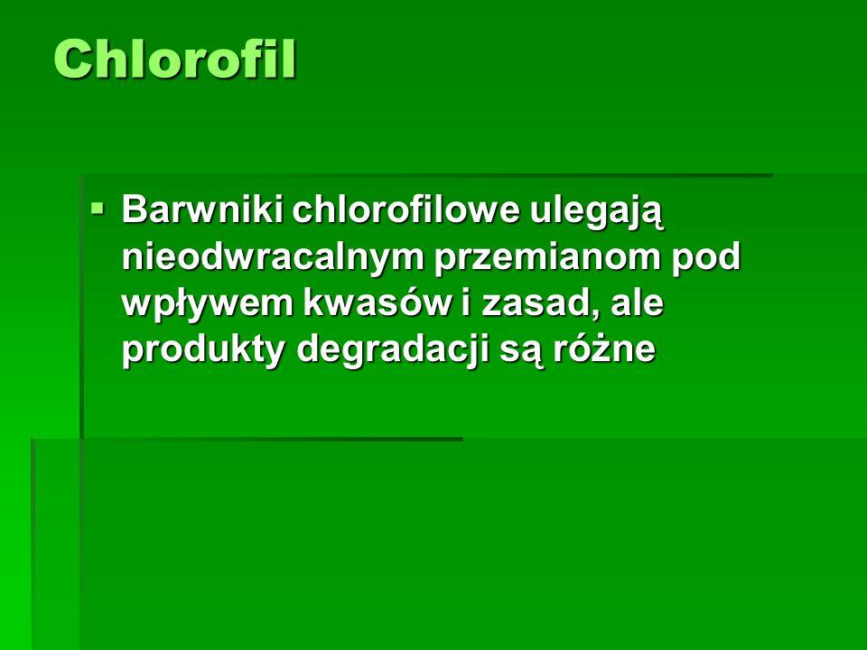 Chlorofil  Barwniki chlorofilowe ulegają nieodwracalnym przemianom pod wpływem kwasów i zasad, ale produkty degradacji są różne
