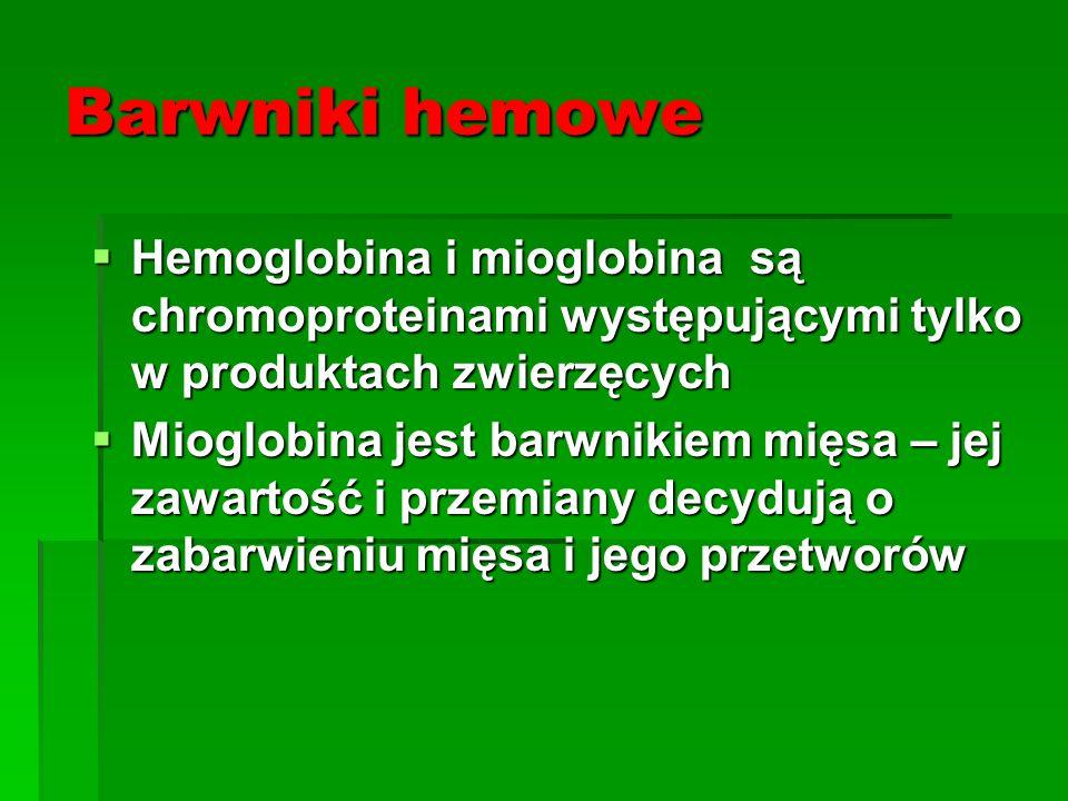 Barwniki hemowe  Hemoglobina i mioglobina są chromoproteinami występującymi tylko w produktach zwierzęcych  Mioglobina jest barwnikiem mięsa – jej z