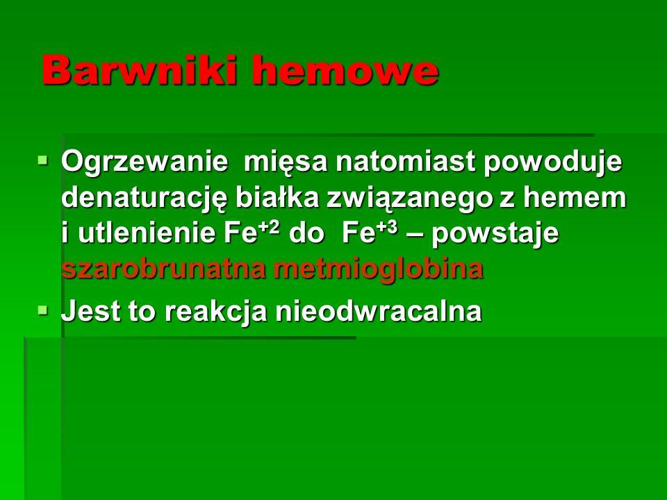 Barwniki hemowe  Ogrzewanie mięsa natomiast powoduje denaturację białka związanego z hemem i utlenienie Fe +2 do Fe +3 – powstaje szarobrunatna metmi