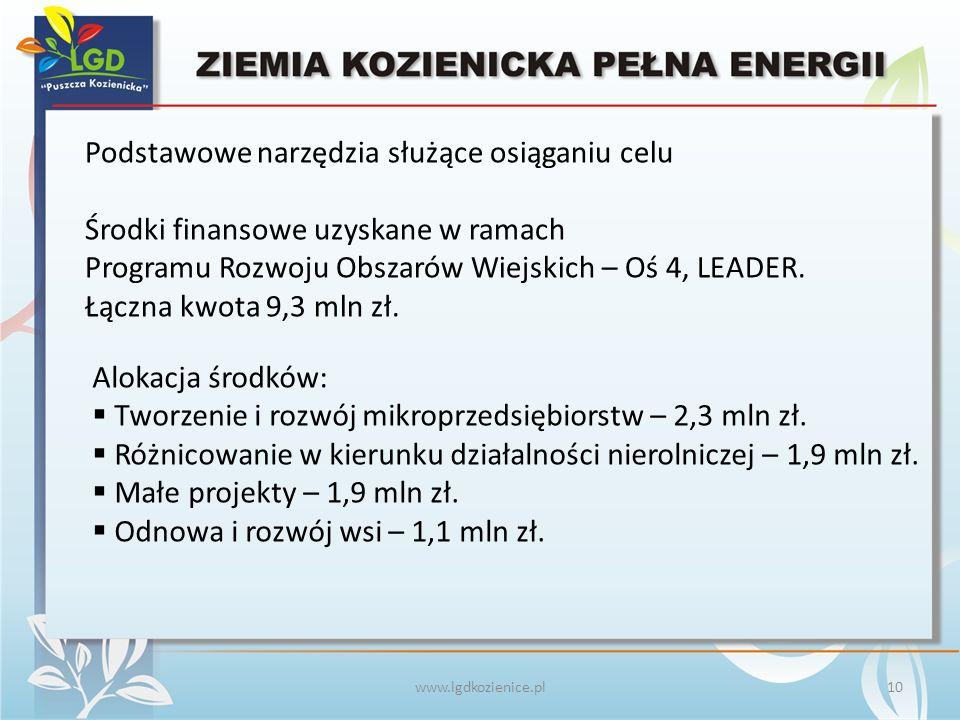 www.lgdkozienice.pl Podstawowe narzędzia służące osiąganiu celu Środki finansowe uzyskane w ramach Programu Rozwoju Obszarów Wiejskich – Oś 4, LEADER.