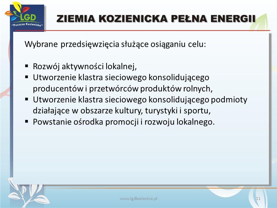 www.lgdkozienice.pl Wybrane przedsięwzięcia służące osiąganiu celu:  Rozwój aktywności lokalnej,  Utworzenie klastra sieciowego konsolidującego producentów i przetwórców produktów rolnych,  Utworzenie klastra sieciowego konsolidującego podmioty działające w obszarze kultury, turystyki i sportu,  Powstanie ośrodka promocji i rozwoju lokalnego.