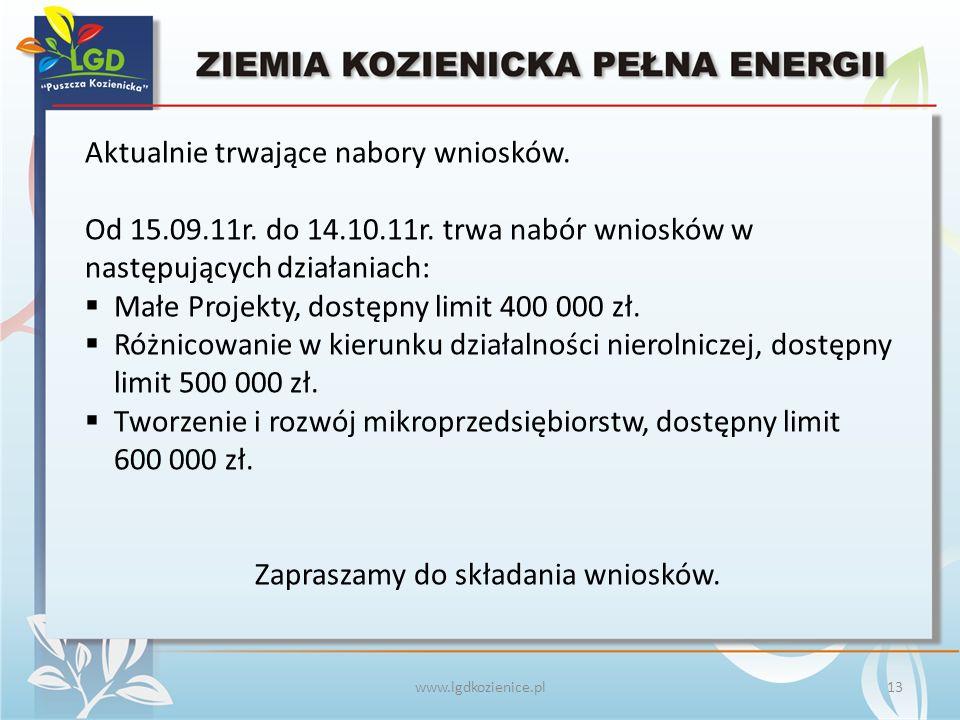 www.lgdkozienice.pl Aktualnie trwające nabory wniosków.