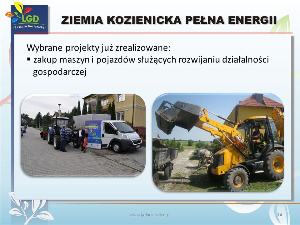 www.lgdkozienice.pl Wybrane projekty już zrealizowane:  zakup maszyn i pojazdów służących rozwijaniu działalności gospodarczej 14