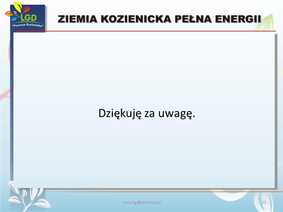 www.lgdkozienice.pl Dziękuję za uwagę. 20
