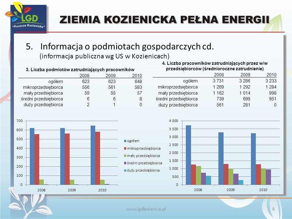 www.lgdkozienice.pl 5.Informacja o podmiotach gospodarczych cd.