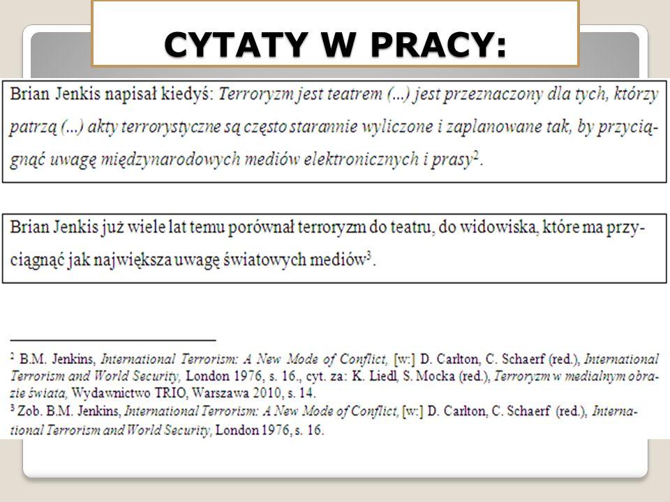 CYTATY W PRACY: