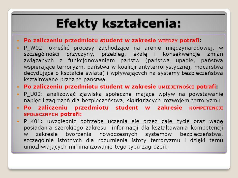 Efekty kształcenia: Po zaliczeniu przedmiotu student w zakresie WIEDZY potrafi: P_W02: określić procesy zachodzące na arenie międzynarodowej, w szczeg