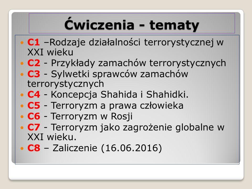Ćwiczenia - tematy C1 –Rodzaje działalności terrorystycznej w XXI wieku C2 - Przykłady zamachów terrorystycznych C3 - Sylwetki sprawców zamachów terro