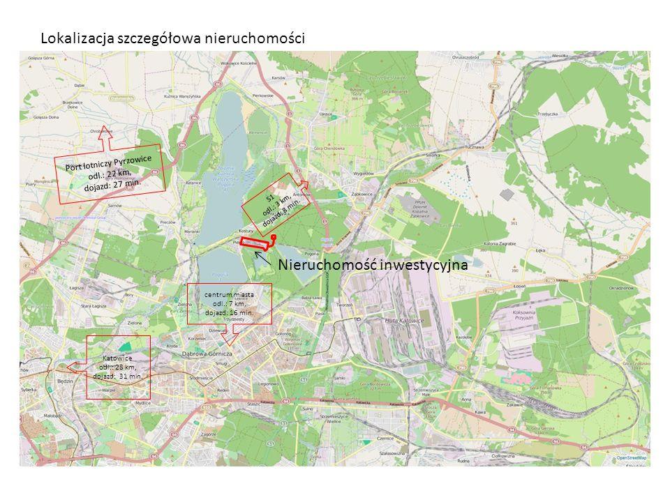 Lokalizacja szczegółowa nieruchomości Nieruchomość inwestycyjna Port lotniczy Pyrzowice odl.: 22 km, dojazd: 27 min. S1 odl.: 3 km, dojazd: 8 min. cen