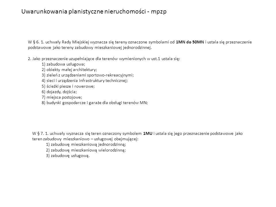 Uwarunkowania planistyczne nieruchomości - mpzp W § 6. 1. uchwały Rady Miejskiej wyznacza się tereny oznaczone symbolami od 1MN do 50MN i ustala się p