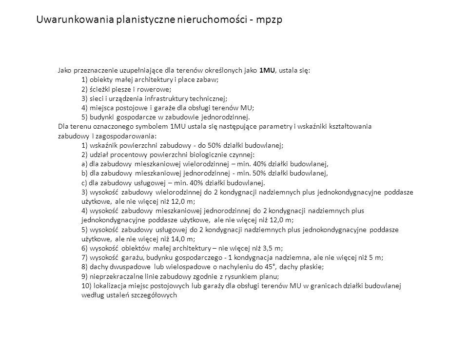 Uwarunkowania planistyczne nieruchomości - mpzp Jako przeznaczenie uzupełniające dla terenów określonych jako 1MU, ustala się: 1) obiekty małej archit