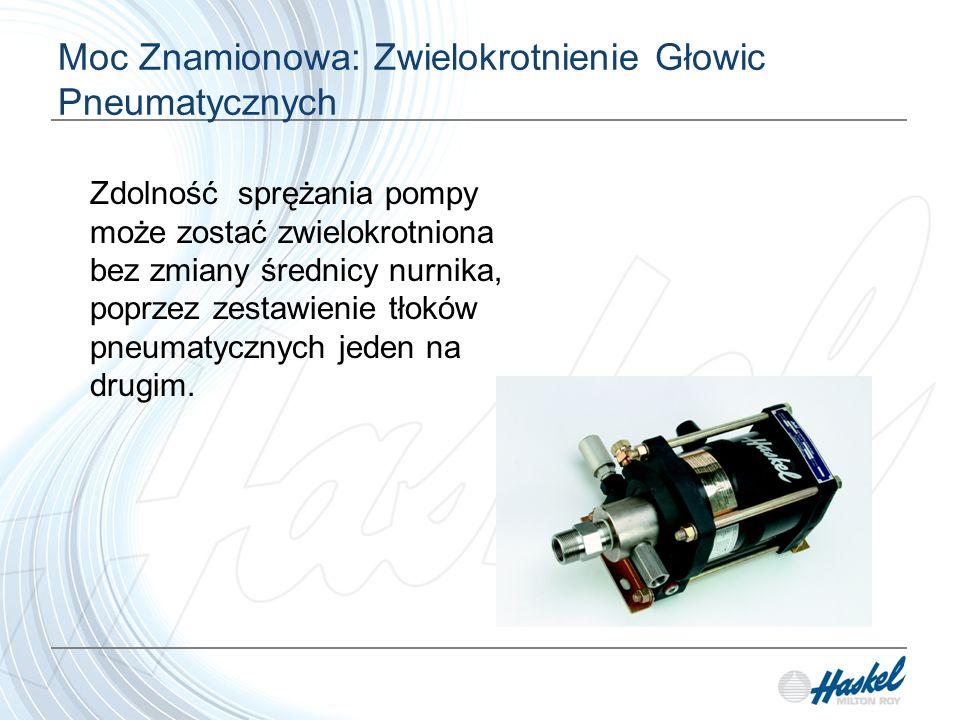 Moc Znamionowa: Zwielokrotnienie Głowic Pneumatycznych Zdolność sprężania pompy może zostać zwielokrotniona bez zmiany średnicy nurnika, poprzez zestawienie tłoków pneumatycznych jeden na drugim.