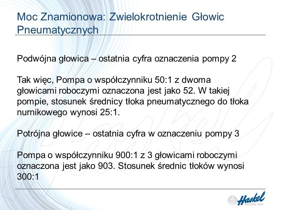 Moc Znamionowa: Zwielokrotnienie Głowic Pneumatycznych Podwójna głowica – ostatnia cyfra oznaczenia pompy 2 Tak więc, Pompa o współczynniku 50:1 z dwoma głowicami roboczymi oznaczona jest jako 52.