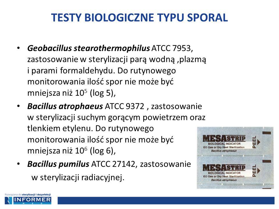 Geobacillus stearothermophilus ATCC 7953, zastosowanie w sterylizacji parą wodną,plazmą i parami formaldehydu. Do rutynowego monitorowania ilość spor