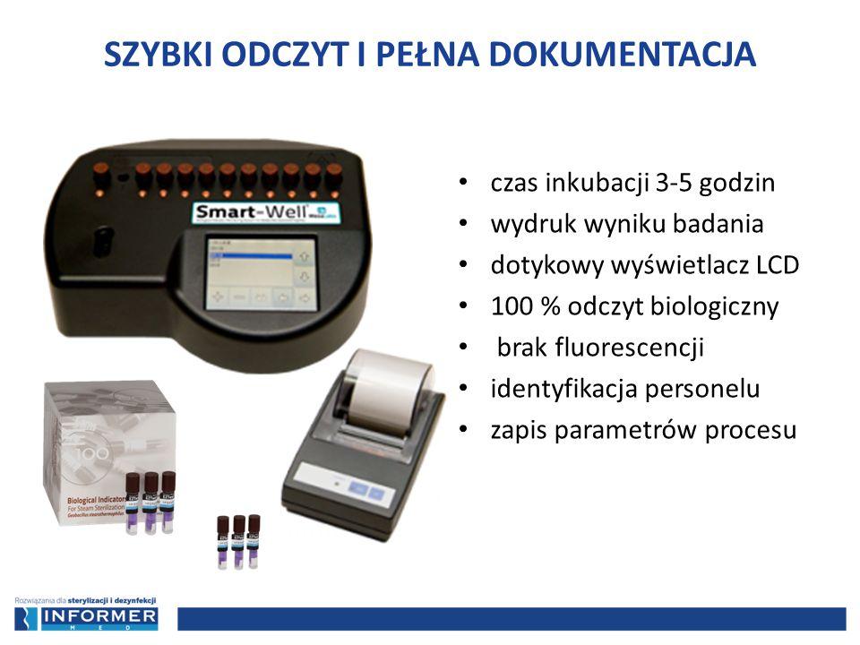 czas inkubacji 3-5 godzin wydruk wyniku badania dotykowy wyświetlacz LCD 100 % odczyt biologiczny brak fluorescencji identyfikacja personelu zapis par