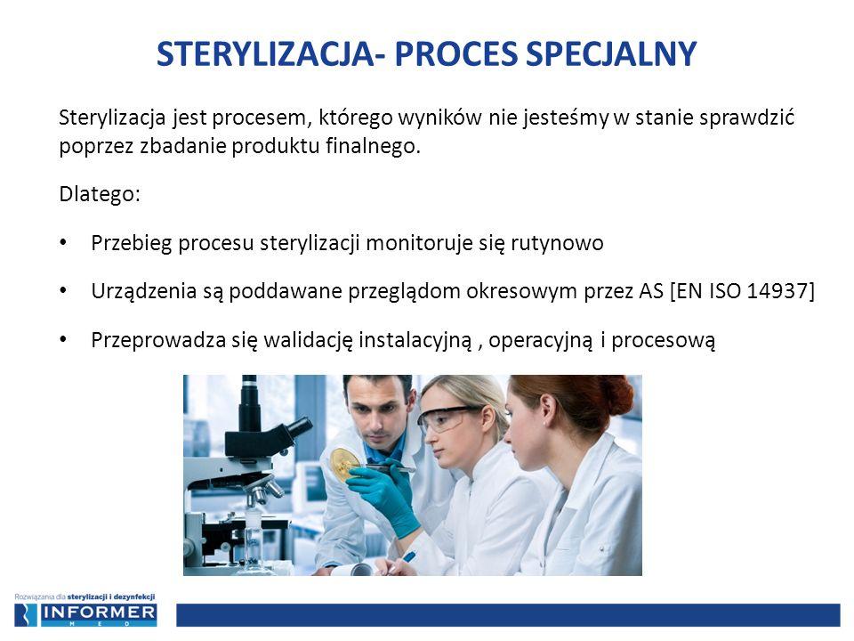 Sterylizacja jest procesem, którego wyników nie jesteśmy w stanie sprawdzić poprzez zbadanie produktu finalnego. Dlatego: Przebieg procesu sterylizacj