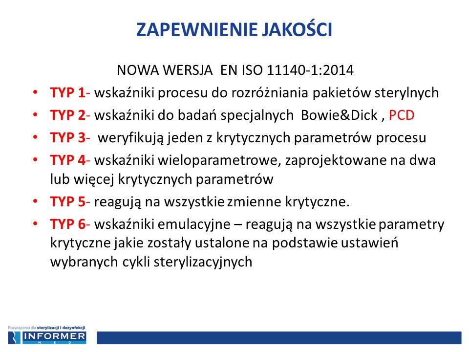 NOWA WERSJA EN ISO 11140-1:2014 TYP 1- wskaźniki procesu do rozróżniania pakietów sterylnych TYP 2- wskaźniki do badań specjalnych Bowie&Dick, PCD TYP