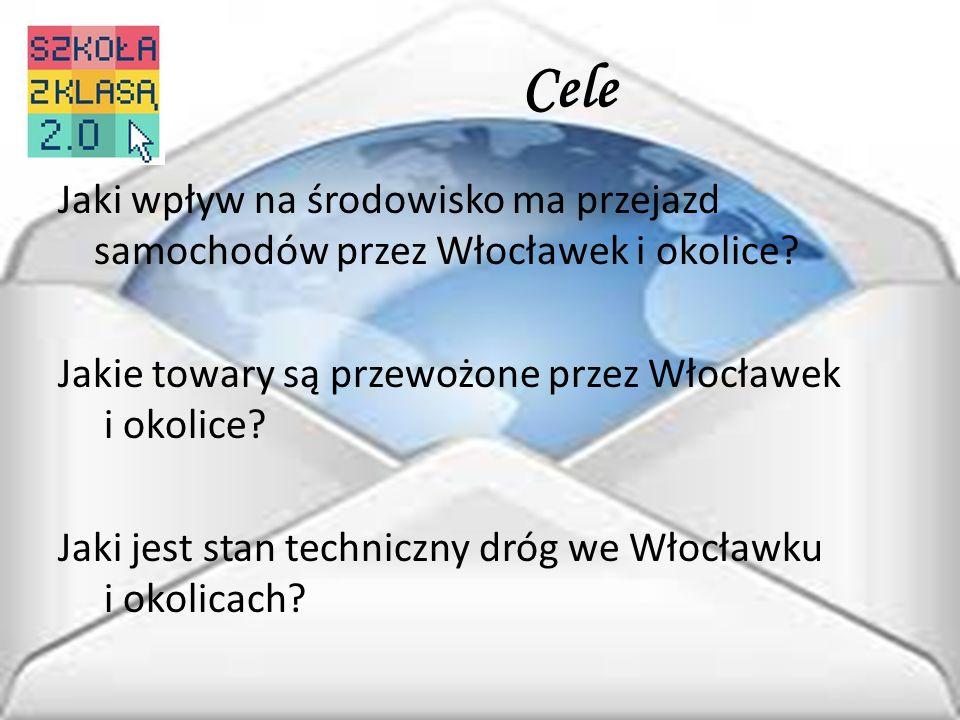 Cele Jaki wpływ na środowisko ma przejazd samochodów przez Włocławek i okolice? Jakie towary są przewożone przez Włocławek i okolice? Jaki jest stan t