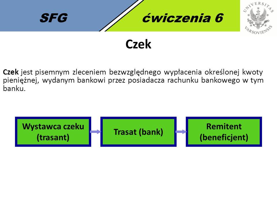 SFGćwiczenia 6 Czek Czek jest pisemnym zleceniem bezwzględnego wypłacenia określonej kwoty pieniężnej, wydanym bankowi przez posiadacza rachunku bankowego w tym banku.
