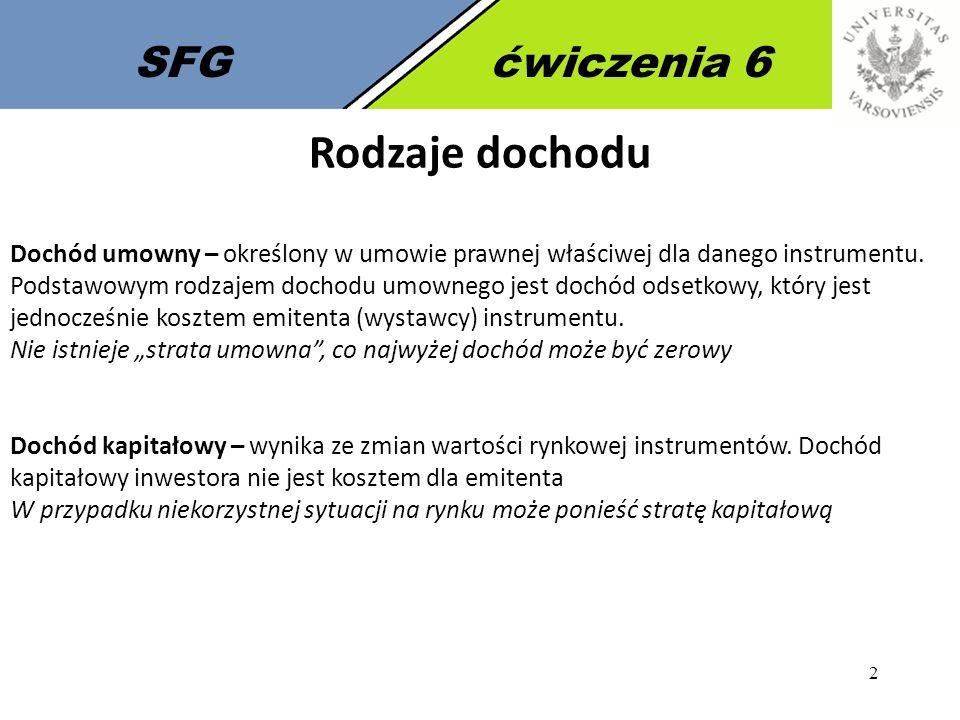 2 SFGćwiczenia 6 Rodzaje dochodu Dochód umowny – określony w umowie prawnej właściwej dla danego instrumentu.