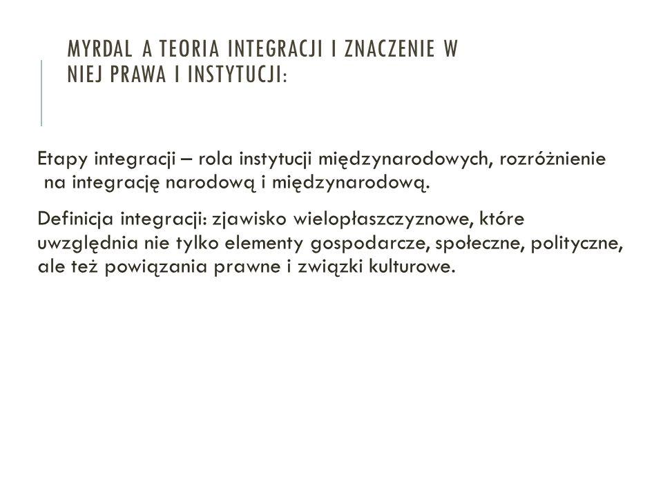 MYRDAL A TEORIA INTEGRACJI I ZNACZENIE W NIEJ PRAWA I INSTYTUCJI: Etapy integracji – rola instytucji międzynarodowych, rozróżnienie na integrację naro