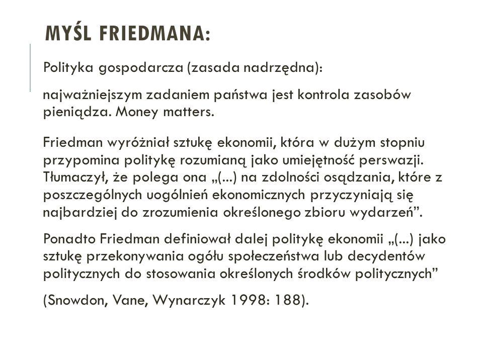 MYŚL FRIEDMANA: Polityka gospodarcza (zasada nadrzędna): najważniejszym zadaniem państwa jest kontrola zasobów pieniądza. Money matters. Friedman wyró