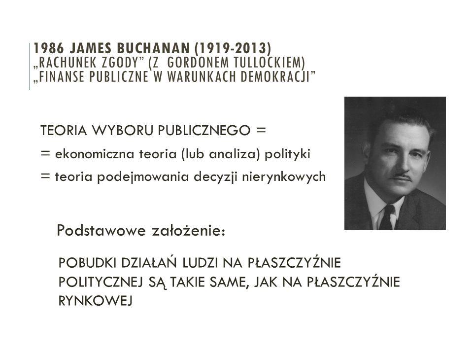 """TEORIA WYBORU PUBLICZNEGO = = ekonomiczna teoria (lub analiza) polityki = teoria podejmowania decyzji nierynkowych 1986 JAMES BUCHANAN (1919-2013) """"RA"""