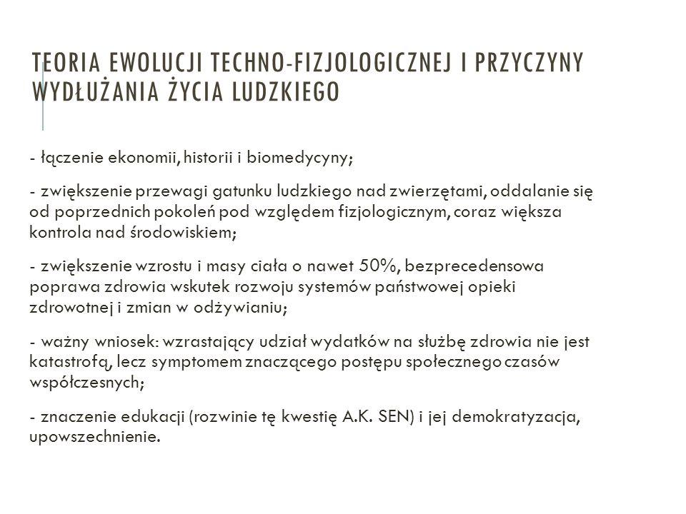 TEORIA EWOLUCJI TECHNO-FIZJOLOGICZNEJ I PRZYCZYNY WYDŁUŻANIA ŻYCIA LUDZKIEGO - łączenie ekonomii, historii i biomedycyny; - zwiększenie przewagi gatun