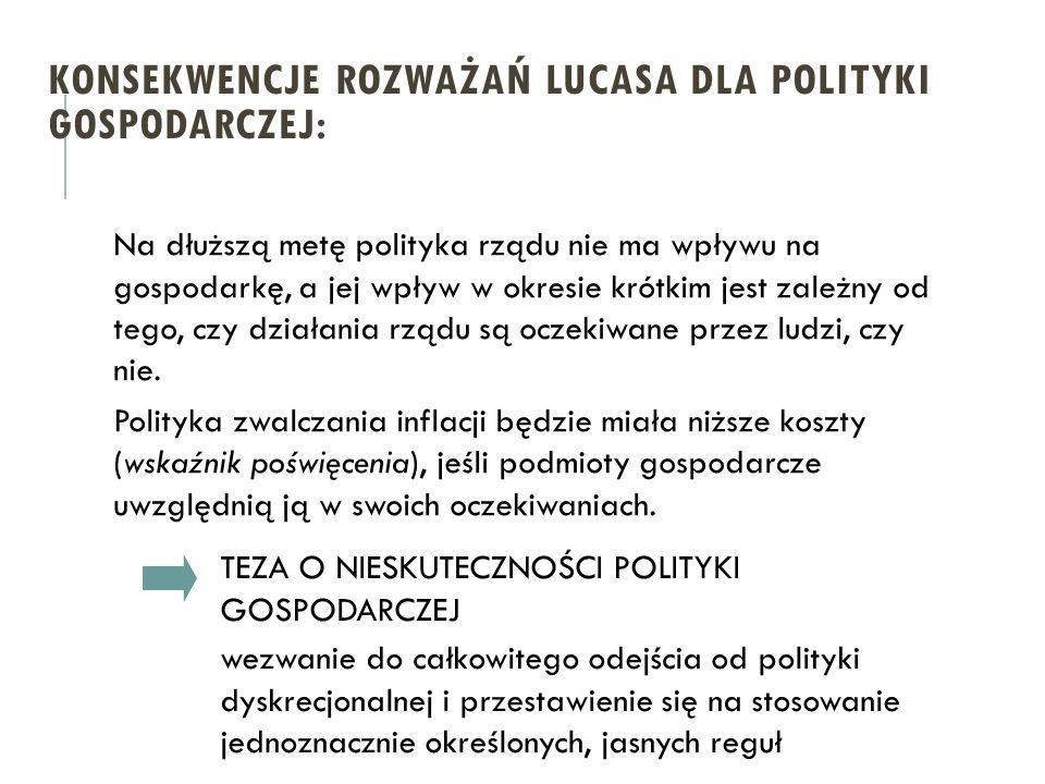 KONSEKWENCJE ROZWAŻAŃ LUCASA DLA POLITYKI GOSPODARCZEJ: TEZA O NIESKUTECZNOŚCI POLITYKI GOSPODARCZEJ wezwanie do całkowitego odejścia od polityki dysk