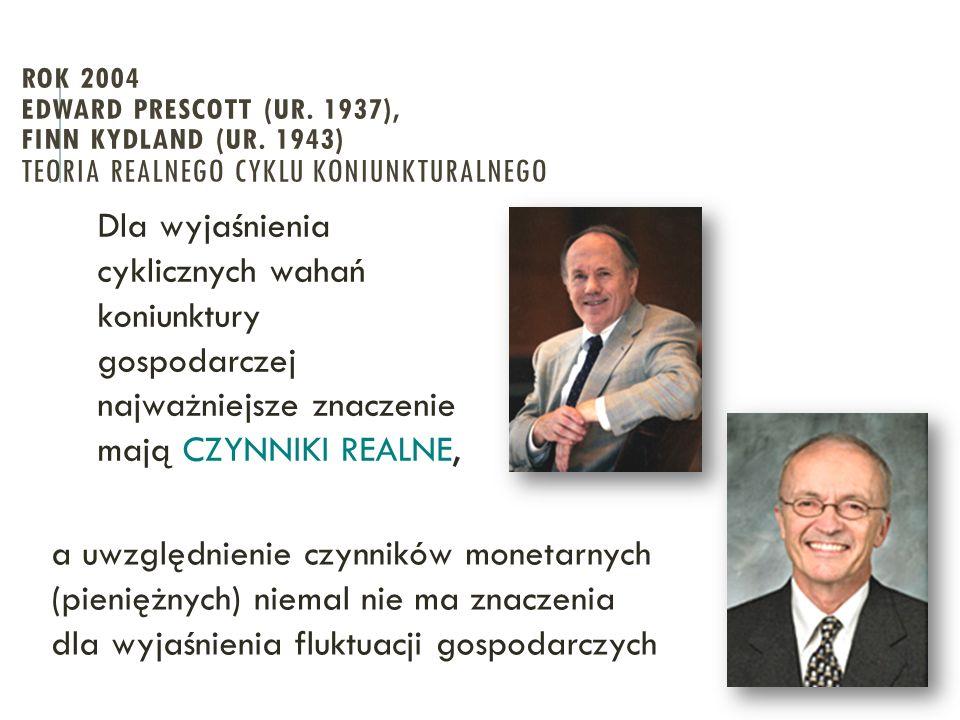 ROK 2004 EDWARD PRESCOTT (UR. 1937), FINN KYDLAND (UR. 1943) TEORIA REALNEGO CYKLU KONIUNKTURALNEGO Dla wyjaśnienia cyklicznych wahań koniunktury gosp