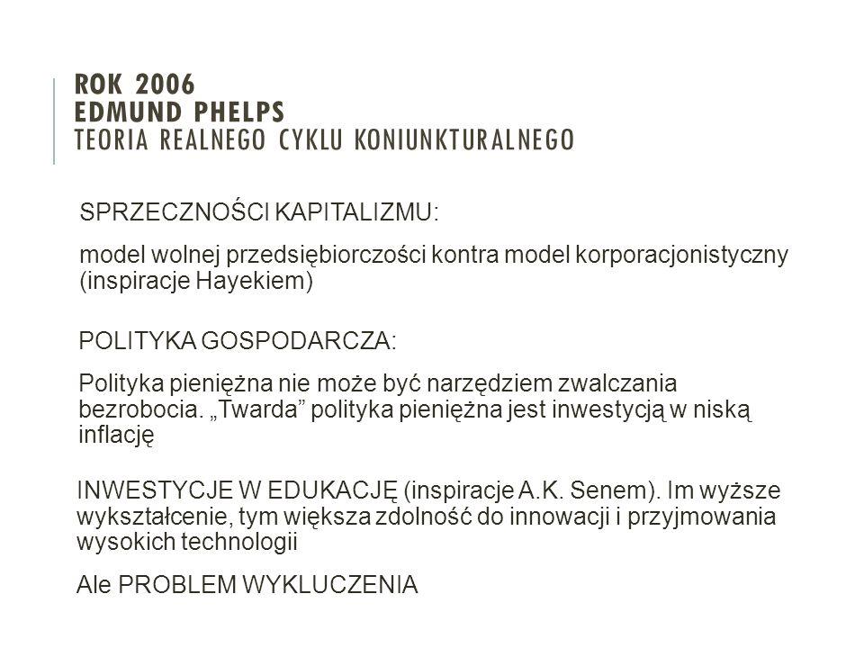 SPRZECZNOŚCI KAPITALIZMU: model wolnej przedsiębiorczości kontra model korporacjonistyczny (inspiracje Hayekiem) ROK 2006 EDMUND PHELPS TEORIA REALNEG